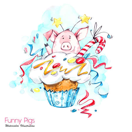 Greeting holidays illustration. Watercolor cartoon pig in cupcake with cream and confetti. Funny dessert. Birthday symbol. Food. Perfect for T-shirts, posters, invitations, cards, phone cases. Stock Photo