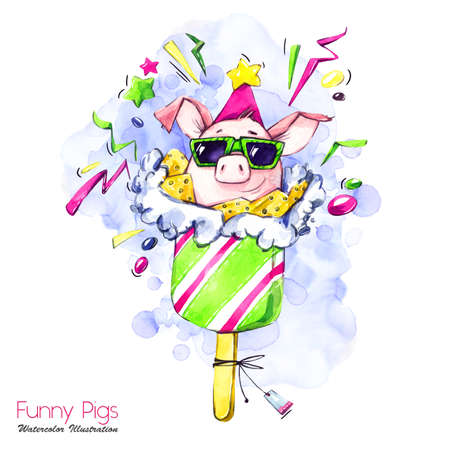 Greeting holidays illustration. Watercolor cartoon pig in popsicle with candies and confetti. Funny dessert. Birthday symbol. Food. Perfect for T-shirts, posters, invitations, cards, phone cases.