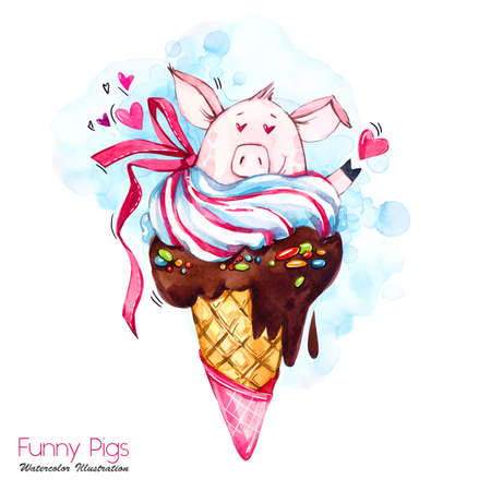 Greeting holidays illustration. Watercolor cartoon pig in ice cream cone with candies and hears. Funny dessert. Love symbol. Food. Perfect for T-shirts, posters, invitations, cards, phone cases. Stock Photo