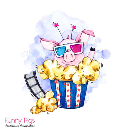 Greeting holidays illustration. Watercolor cartoon pig in pop corn box with glasses and film. Cinema. Funny surprise. Birthday symbol. Perfect for T-shirts, posters, invitations, cards, phone cases. Stockfoto