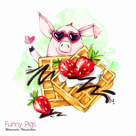 Greeting holidays illustration. Watercolor cartoon pig with waffle and strawberry. Funny dessert. Birthday symbol. Food. Perfect for T-shirts, posters, invitations, cards, phone cases.