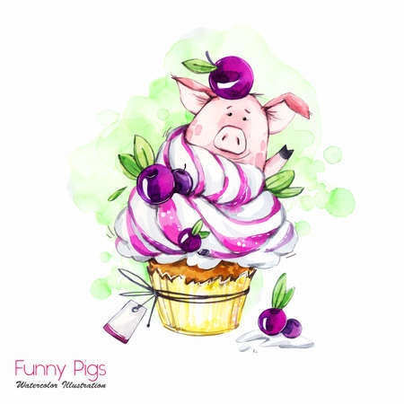 Greeting holidays illustration. Watercolor cartoon pig in cupcake with cream and berries. Funny dessert. Birthday symbol. Food. Perfect for T-shirts, posters, invitations, cards, phone cases.