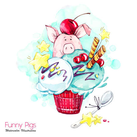 Greeting holidays illustration. Watercolor cartoon pig in ice cream with candies and berries. Funny dessert. Birthday symbol. Food. Perfect for T-shirts, posters, invitations, cards, phone cases.