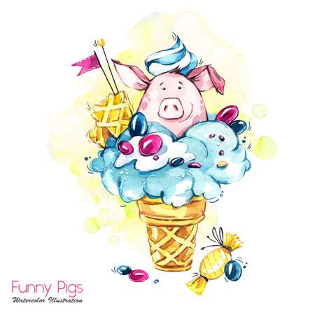 Greeting holidays illustration. Watercolor cartoon pig in ice cream cone with candies and waffle. Funny dessert. Birthday symbol. Food. Perfect for T-shirts, posters, invitations, cards, phone cases.