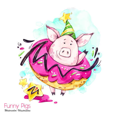 Greeting holidays illustration. Watercolor cartoon pig in big donut with cream and confetti. Funny dessert. Birthday symbol. Food. Perfect for T-shirts, posters, invitations, cards, phone cases.