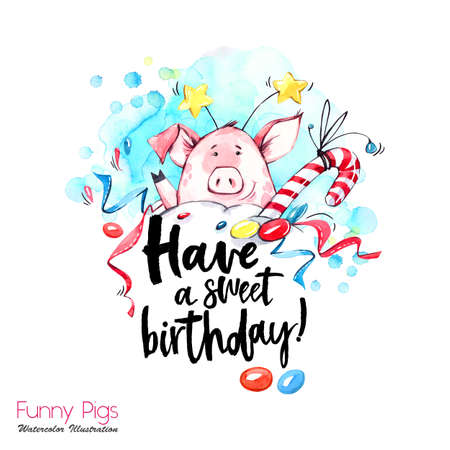 Greeting holidays illustration. Watercolor cartoon pig with birthday lettering and confetti. Funny dessert. Party symbol. Gift. Perfect for T-shirts, posters, invitations, cards, phone cases. Stock Photo