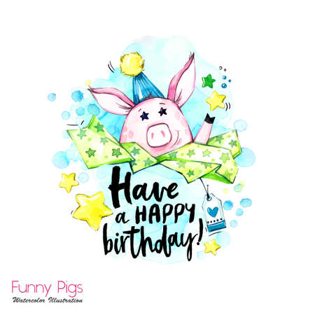 Greeting holidays illustration. Watercolor cartoon pig with birthday lettering and confetti. Funny quote. Party symbol. Gift. Perfect for T-shirts, posters, invitations, cards, phone cases. Stock Photo