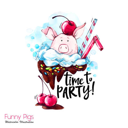 Greeting holidays illustration. Watercolor cartoon pig with party lettering and cream. Funny dessert. Party symbol. Gift. Perfect for T-shirts, posters, invitations, cards, phone cases. Stock Photo