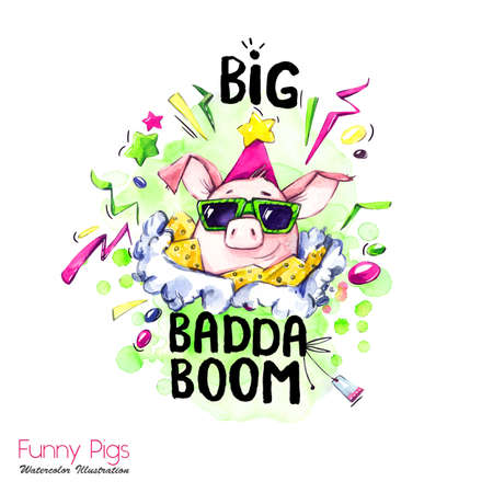 Greeting holidays illustration. Watercolor cartoon pig with lettering and confetti. Funny quote. Party symbol. Gift. Perfect for T-shirts, posters, invitations, cards, phone cases.