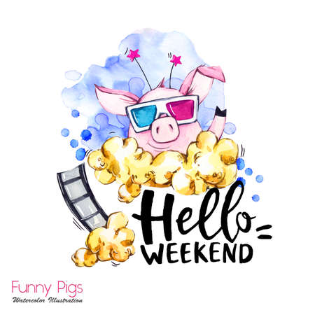 Greeting holidays illustration. Watercolor cartoon pig with weekend lettering and pop corn. Funny quote. Party symbol. Gift. Perfect for T-shirts, posters, invitations, cards, phone cases.
