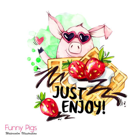 Greeting holidays illustration. Watercolor cartoon pig with weekend lettering and cream. Funny dessert. Party symbol. Gift. Perfect for T-shirts, posters, invitations, cards, phone cases. Stock Photo