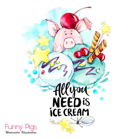Greeting holidays illustration. Watercolor cartoon pig with lettering and cream. Funny dessert. Party symbol. Gift. Perfect for T-shirts, posters, invitations, cards, phone cases.