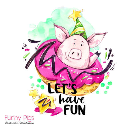 Greeting holidays illustration. Watercolor cartoon pig with weekend lettering and donut. Funny quote. Party symbol. Gift. Perfect for T-shirts, posters, invitations, cards, phone cases.