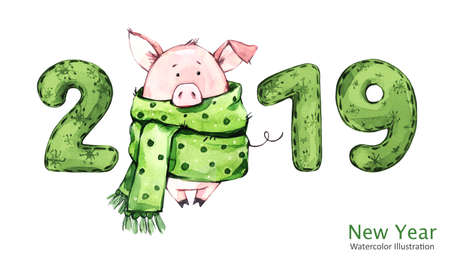 2019 Happy New Year banner. Cute pig in winter scarf with numbers. Greeting watercolor illustration. Symbol of winter holidays. Zodiac sign. Perfect for calendar and celebration card. Stockfoto
