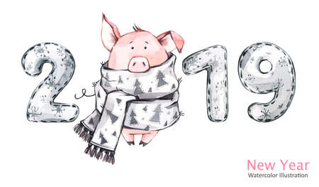 2019 Happy New Year banner. Cute pig in winter scarf with numbers. Greeting watercolor illustration. Symbol of winter holidays. Zodiac sign. Perfect for calendar and celebration card. Stock Photo