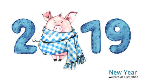 2019 Happy New Year banner. Cute pig in winter scarf with numbers. Greeting watercolor illustration. Symbol of winter holidays. Zodiac sign. Perfect for calendar and celebration card. Фото со стока
