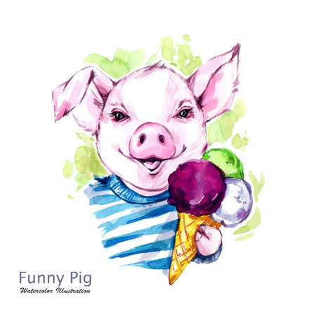 Summer holidays illustration. Watercolor cartoon pig with ice cream. Funny days. Weekend. Symbol of 2019 year. Perfect for T-shirts, posters, invitations, cards, phone cases.