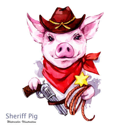 Children illustration. Watercolor sheriff pig in hat with revolver and lasso. Funny cowboy. Western style. Symbol of 2019 year. Perfect for T-shirts, posters, invitations, cards, phone cases.
