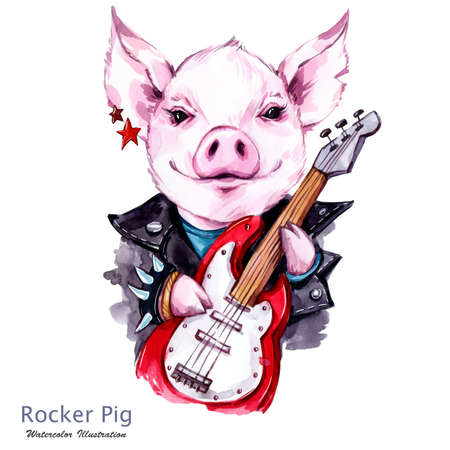 Children illustration. Watercolor rocker pig in jacket with electric guitar. Funny guitarist. Punk music. Symbol of 2019 year. Perfect for T-shirts, posters, invitations, cards, phone cases. Stockfoto