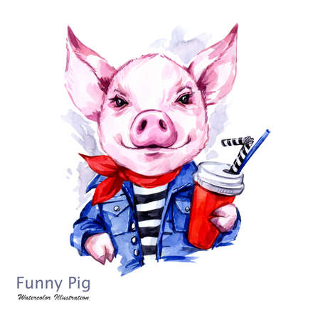 Summer holidays illustration. Watercolor cartoon pig in jeans jacket with drink. Funny weekend. Fashion. Symbol of 2019 year. Perfect for T-shirts, posters, invitations, cards, phone cases.