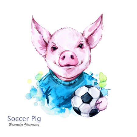 Summer holidays illustration. Watercolor soccer pig with ball. Funny football player. Sport. Symbol of 2019 year. Perfect for T-shirts, posters, invitations, cards, phone cases.