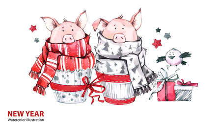 2019 Happy New Year illustration. Christmas border. Cute pigs in scarves with gifts and bird. Greeting watercolor cakes. Symbol of winter holidays. Zodiac sign. Perfect for celebration cards.
