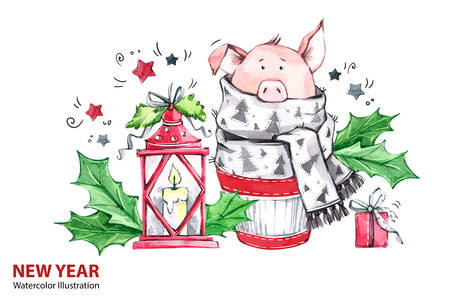 2019 Happy New Year illustration. Christmas. Cute pig in winter scarf with lamp and gift. Greeting watercolor cake. Symbol of winter holidays. Zodiac sign. Perfect for calendar and celebration cards.