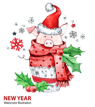 2019 Happy New Year illustration. Christmas. Cute pig in winter scarf with Santa hat. Greeting watercolor cake. Symbol of winter holidays. Zodiac sign. Perfect for calendar and celebration card.