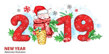 2019 Happy New Year banner. Cute pig with Santa hat in waffle cone and numbers. Greeting watercolor illustration. Symbol of winter holidays. Zodiac sign. Perfect for calendar and celebration cards. Stock Photo