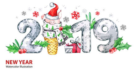2019 Happy New Year banner. Cute pig with Santa hat in waffle cone and numbers. Greeting watercolor illustration. Symbol of winter holidays. Zodiac sign. Perfect for calendar and celebration cards. Stockfoto