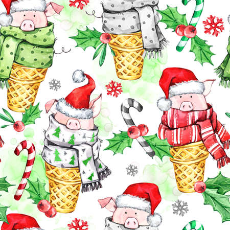 Watercolor seamless pattern with cute pigs with Santa hat in waffle cones. New Year. Celebration illustration. Merry Christmas. Can be use in winter holidays design, posters, invitations, cards.