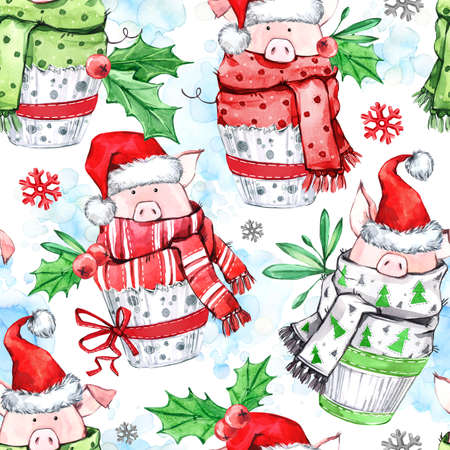 Watercolor seamless pattern. Cute pigs with scarf in cupcakes. New Year. Celebration illustration. Merry Christmas. Zodiac sign. Can be use in winter holidays design, posters, invitations, cards.