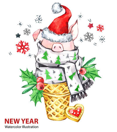 2019 Happy New Year illustration. Christmas. Cute pig with Santa hat in waffle cone. Greeting watercolor dessert. Symbol of winter holidays. Zodiac sign. Perfect for calendar and celebration cards.