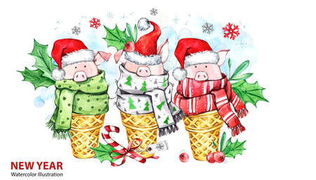 2019 Happy New Year illustration. Christmas border. Cute pigs with Santa hat in waffle cones. Greeting watercolor dessert. Symbol of winter holidays. Perfect for calendar and celebration cards. Stockfoto
