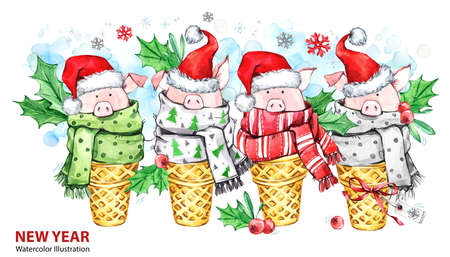 2019 Happy New Year illustration. Christmas border. Cute pigs with Santa hat in waffle cones. Greeting watercolor dessert. Symbol of winter holidays. Perfect for calendar and celebration cards. Stock Photo
