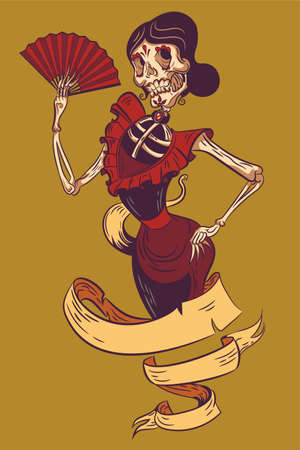 Mexican dancer Sugar skull. Color illustration. Vector graphics. stylization. Day of the Dead.