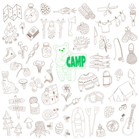 bear berry: vector set of hand drawn doodle camping elements isolated on white background