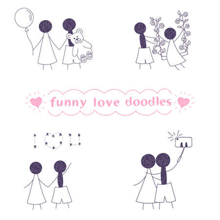 funny love: vector funny love doodles isolated on white background Illustration