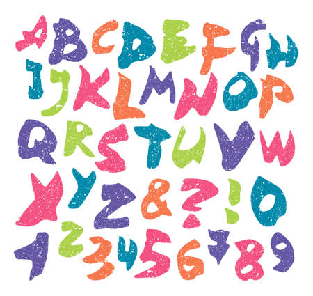 colorful grunge: vector colorful grunge alphabet and numbers isolated on white background Illustration