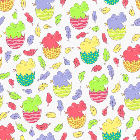 eggshell: vector seamless pattern with colorful doodle birds in egg-shell and feathers