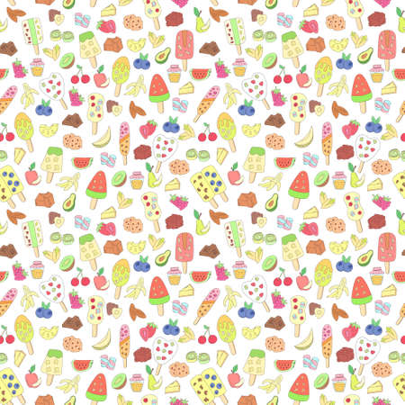 vector seamless pattern with colorful doodle ice cream and ingredients on white background. hand drawn illustration for menu, recipe, kitchen, cafe stuff, fabric. Illustration