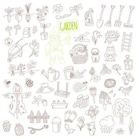 lawn gnome: vector set of doodle garden elements isolated on white background. hand drawn illustration for gardening, farming.