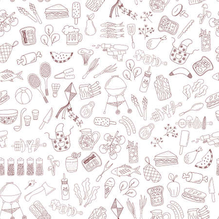 family park: vector seamless pattern with hand drawn doodle barbecue elements on white background Illustration