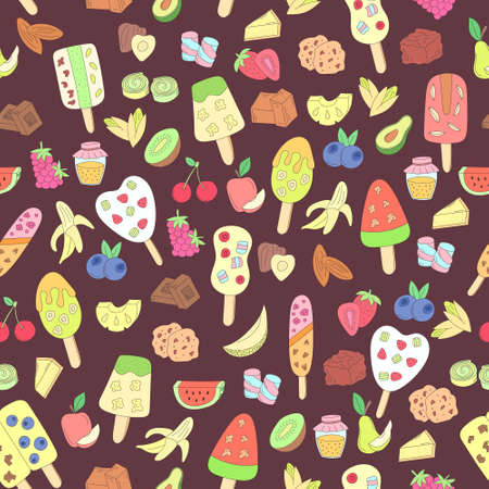 blueberry cheesecake: vector seamless pattern with colorful doodle ice cream and ingredients on dark background. hand drawn illustration for menu, recipe, kitchen, cafe stuff, fabric.