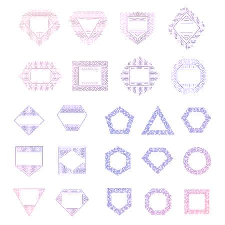 vector set of mono line hipster logo templates. outline elements for badge, logotype, label design.