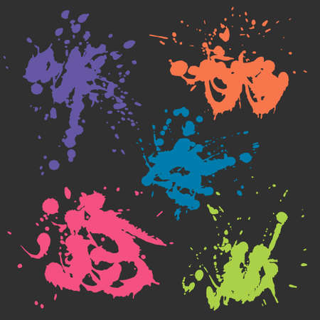 blood draw: vector set of colorful stains isolated on dark background Illustration