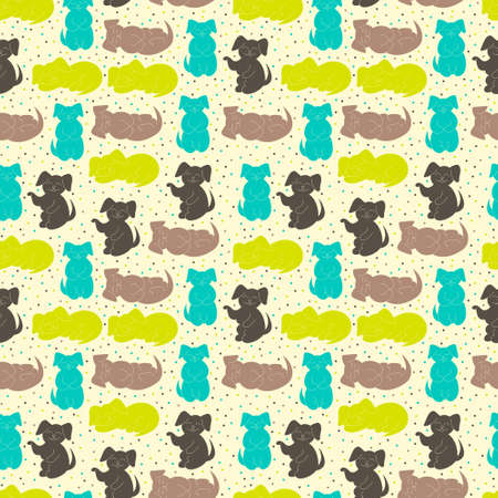 summer dog: vector seamless pattern with colorful dogs
