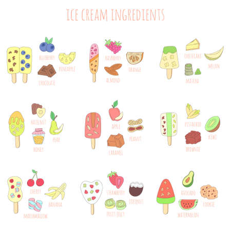 vector colorful doodle ice cream and ingredients isolated on white background. hand drawn illustration for menu, recipe, kitchen, cafe stuff.