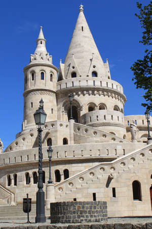 bastion: Fishermans Bastion in Budapest, Hungary Stock Photo