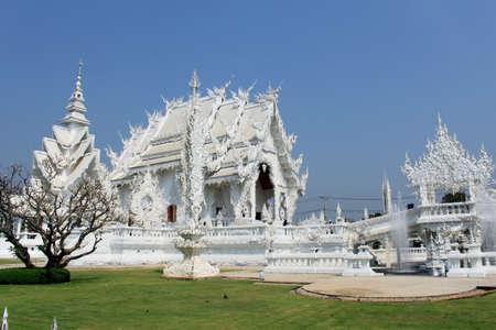 White temple in Chiang Rai, Thailand photo